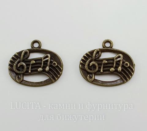 """Подвеска овальная """"Мелодия"""" 21х18 мм (цвет - античная бронза)"""