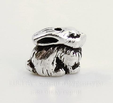 "Бусина TierraCast ""Кролик"" 10х7 мм (цвет-античное серебро)"