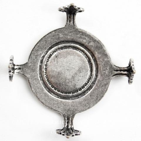 """Сеттинг - основа """"Черепашка"""" для камеи или кабошона 18 мм (оксид серебра) ()"""