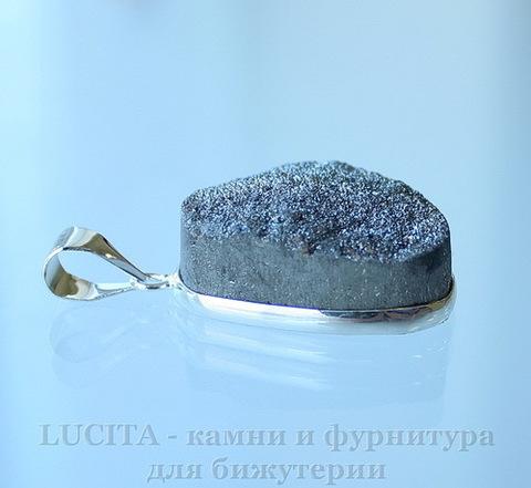 Подвеска Кварц в рамке (цвет - античное серебро) 27,7х19,8х11,7 мм №20