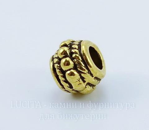 Бусина металлическая с узором (цвет - античное золото) 8х6 мм , 10 штук