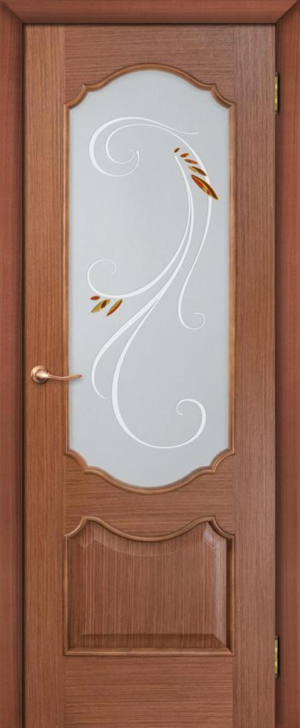 Шпонированная дверь Камила полотно остекленное цвет орех