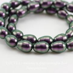 5821 Хрустальный жемчуг Crystal Iridescent Purple  грушевидный 11х8 мм