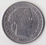 K0141, 1865, Испания, 40 сентимов, Ag-810, 5,1 гр.