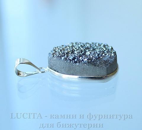 Подвеска Кварц в рамке (цвет - античное серебро) 27,7х21,8х10,2 мм №14
