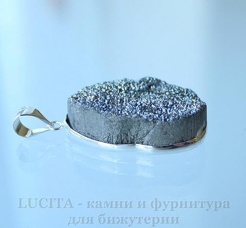 Подвеска Кварц в рамке (цвет - античное серебро) 36х25,9х10,3 мм №11