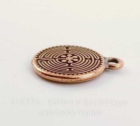"""Подвеска круглая TierraCast """"Лабиринт"""" (цвет-античная медь) 21х17 мм"""
