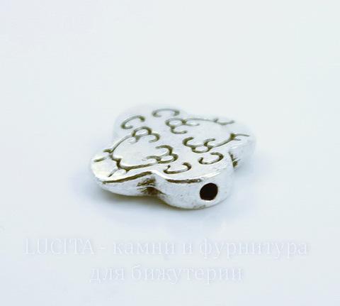 """Бусина металлическая """"Завитки"""" (цвет - античное серебро) 11х11 мм"""
