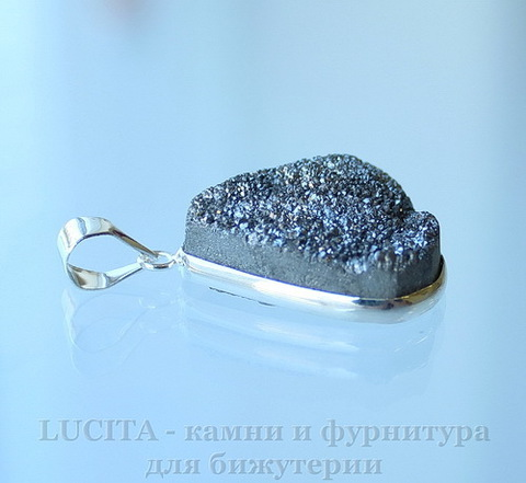 Подвеска Кварц в рамке (цвет - античное серебро) 26,5х20,8х10,3 мм №13