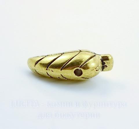 """Бусина металлическая """"Листик"""" 18х8 мм (цвет - античное золото)"""