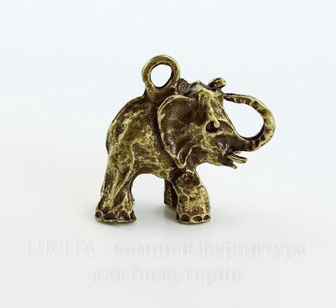 "Подвеска ""Слон"" 3D (цвет - античная бронза) 27х27х7 мм"