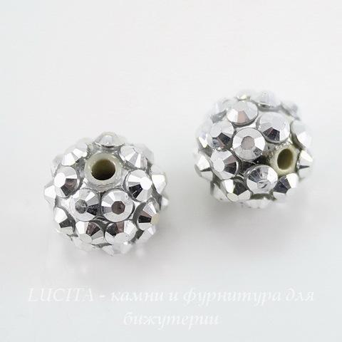 Бусина для шамбалы со стразами, цвет - серебряный, 12 мм