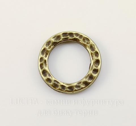 """Коннектор - кольцо TierraCast """"Hammertone"""" (цвет-античная латунь) 13 мм"""