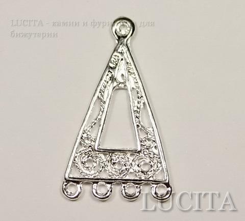 "Коннектор ""Треугольник"" (1-4) 25х14 мм (цвет - серебро), ПАРА ()"