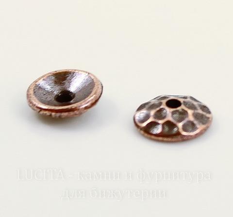 "Шапочка для бусины TierraCast ""Hammertone"" (цвет-античная медь) 6х2 мм"
