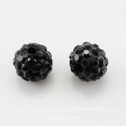 Бусина для шамбалы с фианитами, цвет - черный, 8 мм