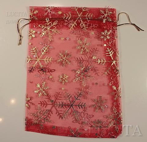 """Подарочный мешочек из органзы """"Золотые снежинки"""" красный, 17х12 см ()"""