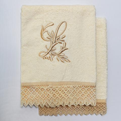 Набор полотенец 2 шт Old Florence Rombetti с вышивкой инициалов J бежевый