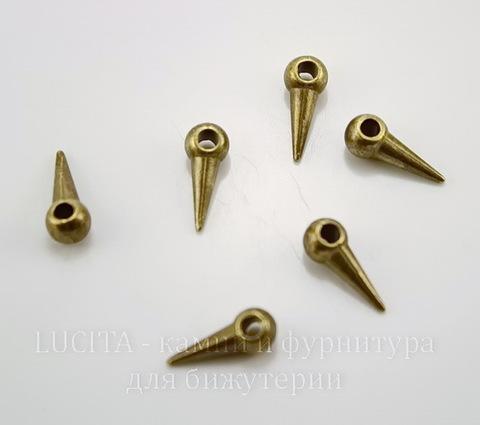 "Подвеска ""Шип"" 14х5 мм (цвет - античная бронза), 10 штук"