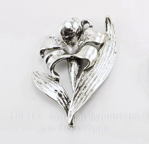 "Подвеска ""Лилия"" (цвет - античное серебро) 37х24 мм ()"