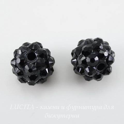Бусина для шамбалы со стразами, цвет - черный, 12 мм ()