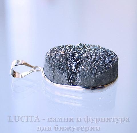 Подвеска Кварц в рамке (цвет - античное серебро) 30х24,3х12,9 мм №6