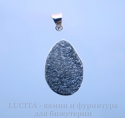 Подвеска Кварц в рамке (цвет - античное серебро) 29,5х20,4х12,2 мм №2