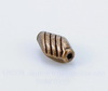 """Бусина металлическая """"Полосатая"""" (цвет - античная медь) 10х6 мм, 10 штук"""