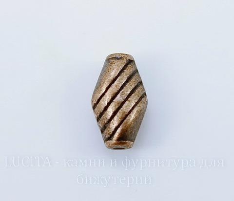 """Бусина металлическая """"Полосатая"""" 10х6 мм (цвет - античная медь), 10 штук"""