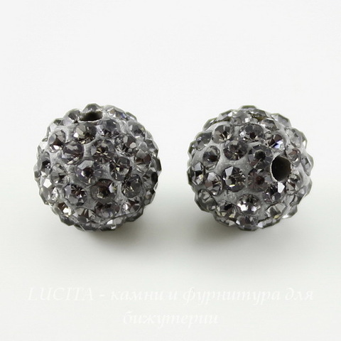 Бусина для шамбалы с фианитами, цвет - серый, 10 мм