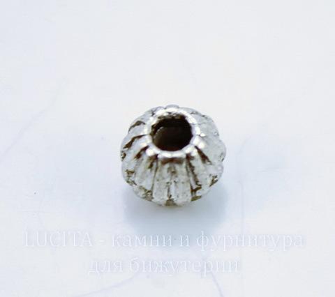 Бусина металлическая - биконус 6х5 мм (цвет - античное серебро), 10 штук
