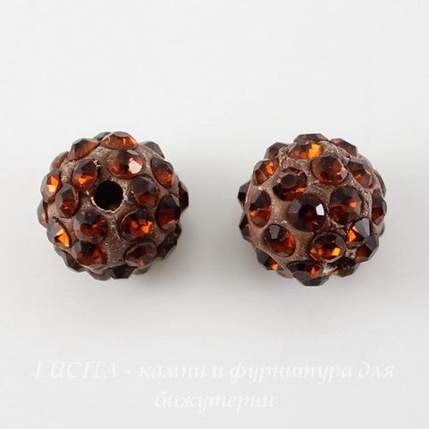 Бусина для шамбалы с фианитами, цвет - темный топаз, 10 мм ()