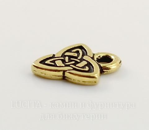 """Подвеска TierraCast """"Кельтская триада"""" (цвет-античное золото) 10х8 мм"""
