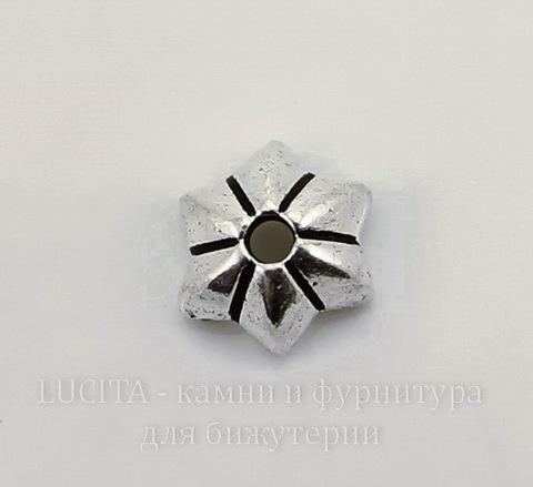 "Шапочка для бусины TierraCast ""Talavera Star"" (цвет-античное серебро) 6х5х2 мм"