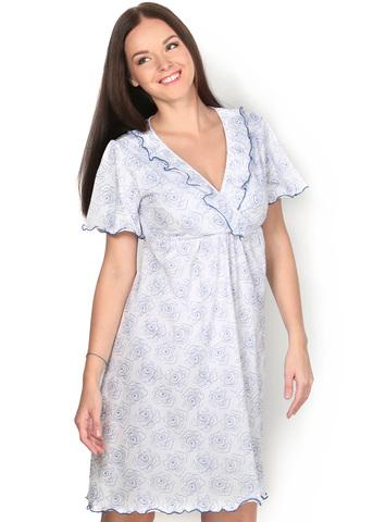 Ночная сорочка НХ05 белая с синими цветами для беременных и кормящих