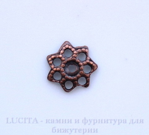 Винтажный декоративный элемент - шапочка маленькая 6х2 мм (оксид меди)