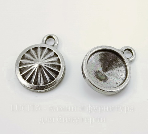 """Сеттинг - основа - подвеска TierraCast """"Грани"""" для страза 10 мм (цвет-античное серебро)"""