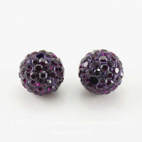Бусина для шамбалы с фианитами, цвет - темно-фиолетовый, 10 мм