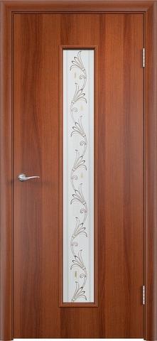 Дверь Верда C-21 (вьюн), цвет итальянский орех, остекленная