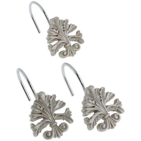 Набор из 12 крючков для шторки Fleur di Lis Silver от Carnation Home Fashions