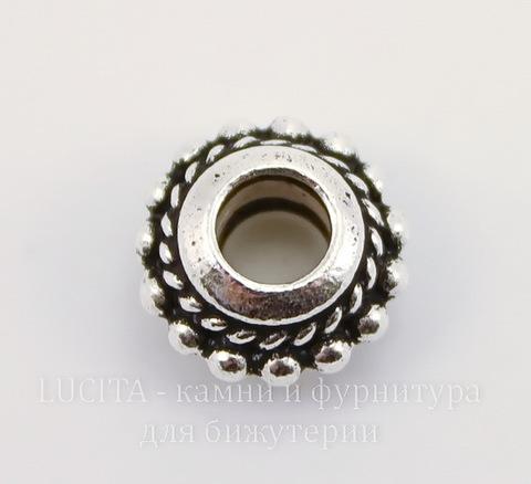 "Бусина - рондель TierraCast ""Твист"" 11х6 мм (цвет-античное серебро)"