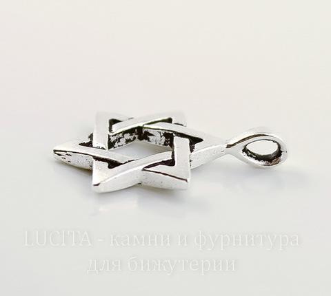"""Подвеска TierraCast """"Звезда Давида"""" (цвет-античное серебро) 25х17 мм"""