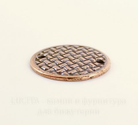 """Коннектор TierraCast """"Плетеный диск"""" (1-1) 19 мм (цвет-античная медь)"""