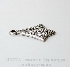 Винтажный декоративный элемент - подвеска 17х13 мм (оксид серебра)