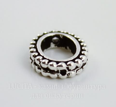 """Рамка для бусины овальная TierraCast """"Бусинки"""" (цвет-античное серебро) 15х11х3 мм"""
