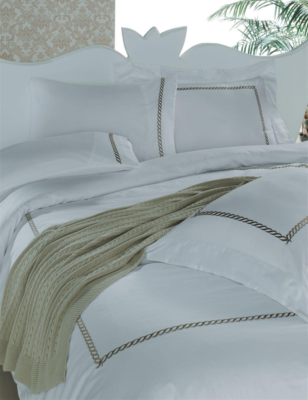 Комплекты постельного белья Постельное белье 2 спальное евро Casual Avenue Messina белое с коричневым komplekt-postelnogo-belya-sandal-ot-eke-home.jpg