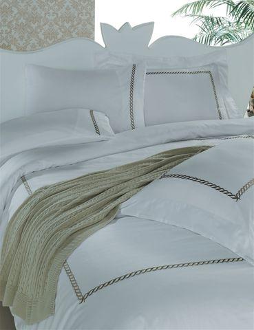Постельное белье 2 спальное евро Casual Avenue Messina белое с коричневым