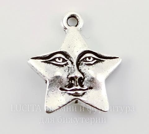 """Подвеска TierraCast """"Звезда"""" (цвет-античное серебро) 17х16 мм"""