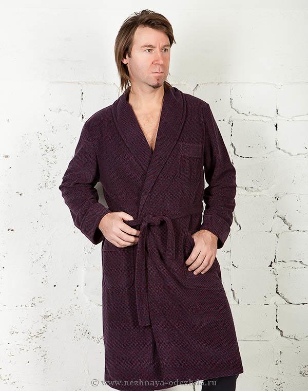 Бордовый теплый мужской халат B&B (Мужские халаты)