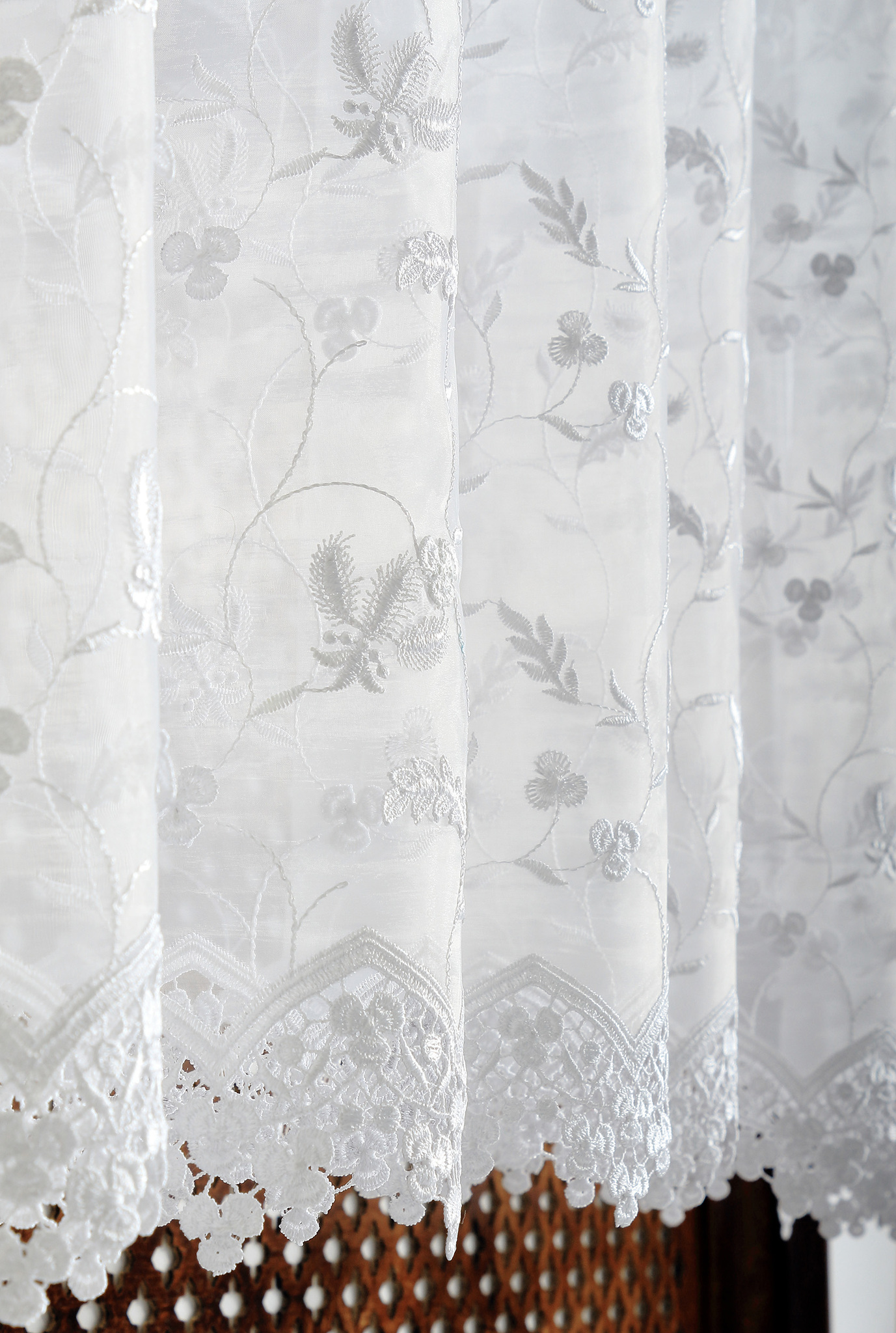 Штора - Органза с макраме (белая)